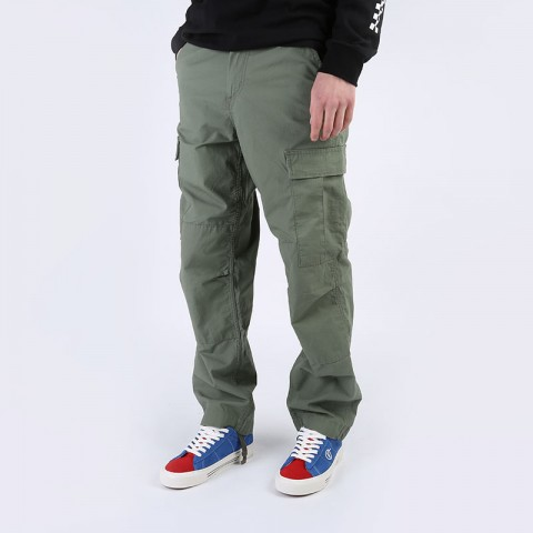 мужские зеленые  брюки carhartt wip regular cargo pant I015875-dollar green - цена, описание, фото 1