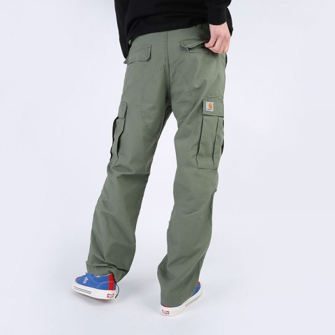 мужские зеленые  брюки carhartt wip regular cargo pant I015875-dollar green - цена, описание, фото 6