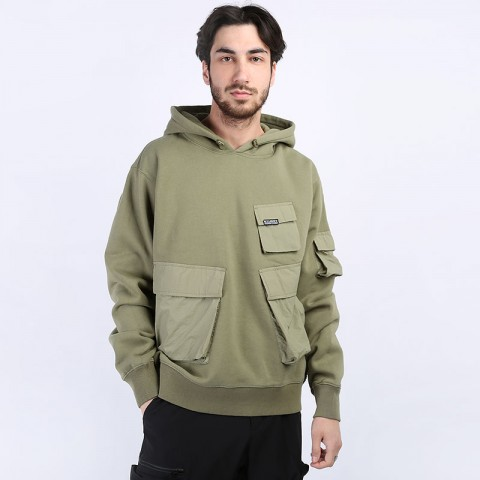 мужскую зеленую  толстовка stussy cargo fleece hood 218094-khaki - цена, описание, фото 1