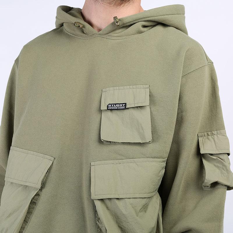 мужскую зеленую  толстовка stussy cargo fleece hood 218094-khaki - цена, описание, фото 2