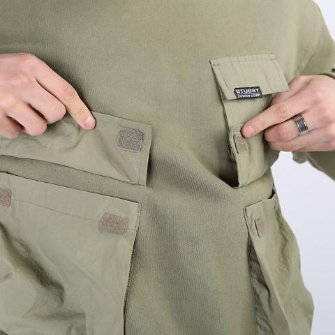 мужскую зеленую  толстовка stussy cargo fleece hood 218094-khaki - цена, описание, фото 5