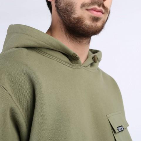 мужскую зеленую  толстовка stussy cargo fleece hood 218094-khaki - цена, описание, фото 4