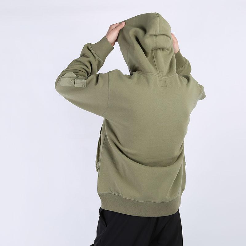 мужскую зеленую  толстовка stussy cargo fleece hood 218094-khaki - цена, описание, фото 6