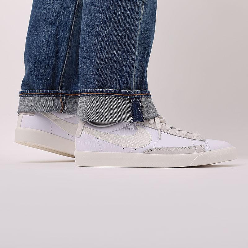 мужские белые  кроссовки nike blazer low leather CW7585-100 - цена, описание, фото 8