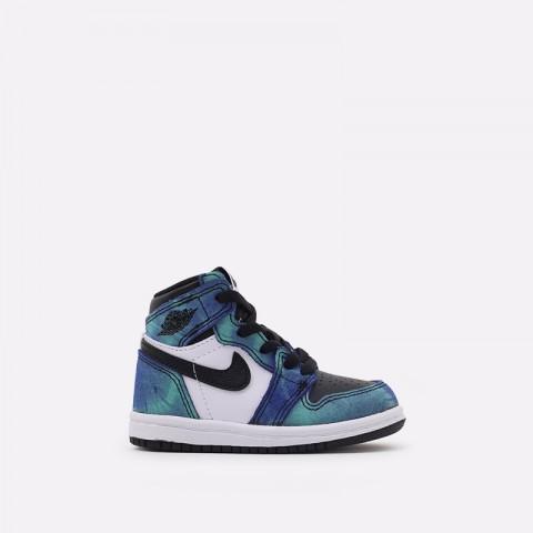 детские синие, чёрные  кроссовки jordan 1 high og (td) CU0450-100 - цена, описание, фото 1