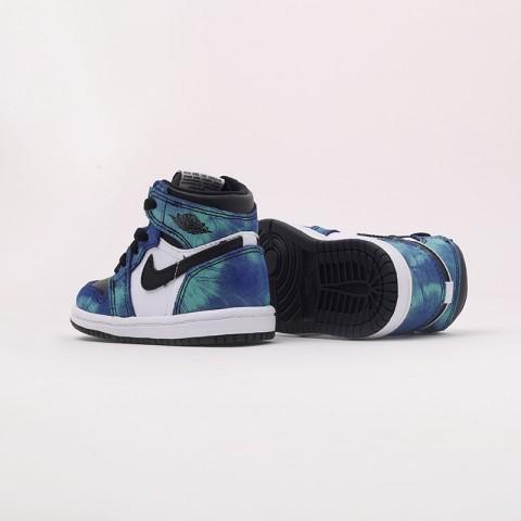 детские синие, чёрные  кроссовки jordan 1 high og (td) CU0450-100 - цена, описание, фото 5