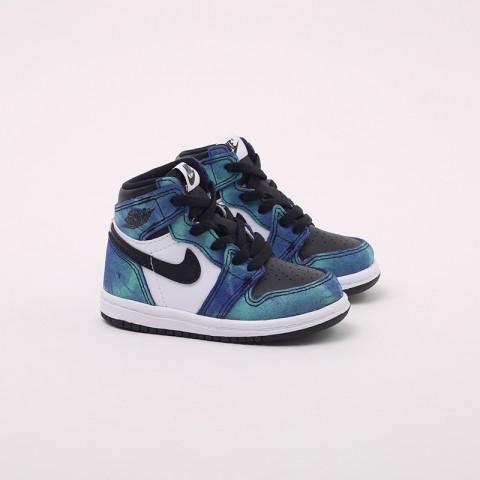 детские синие, чёрные  кроссовки jordan 1 high og (td) CU0450-100 - цена, описание, фото 2
