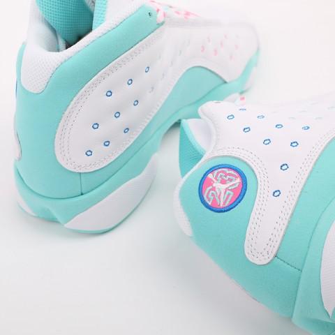 женские белые, голубые  кроссовки jordan retro 13 (gs) 439358-100 - цена, описание, фото 5