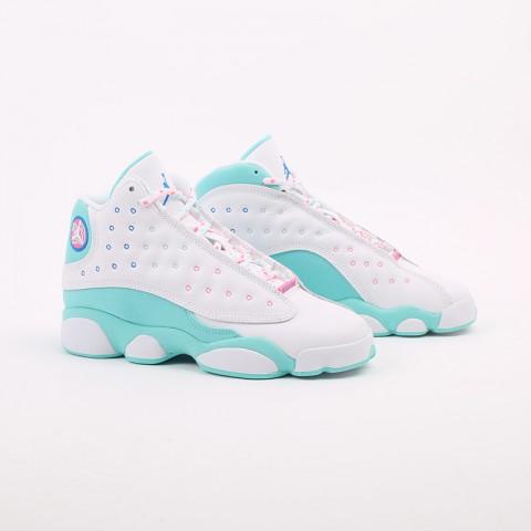 женские белые, голубые  кроссовки jordan retro 13 (gs) 439358-100 - цена, описание, фото 2