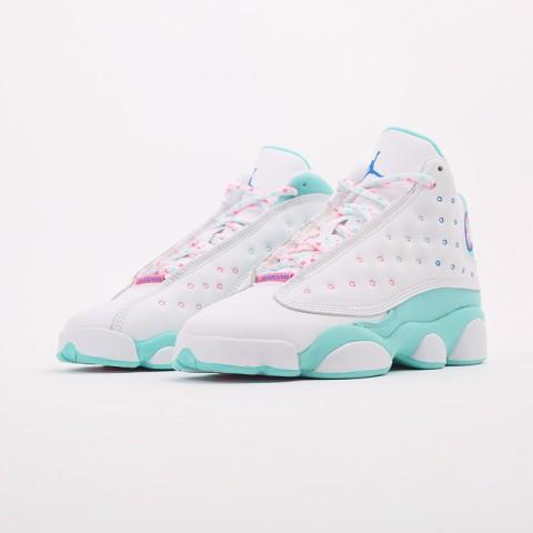 женские белые, голубые  кроссовки jordan retro 13 (gs) 439358-100 - цена, описание, фото 6