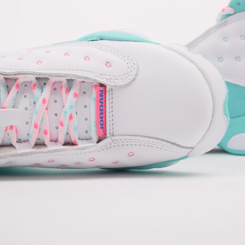 женские белые, голубые  кроссовки jordan retro 13 (gs) 439358-100 - цена, описание, фото 7