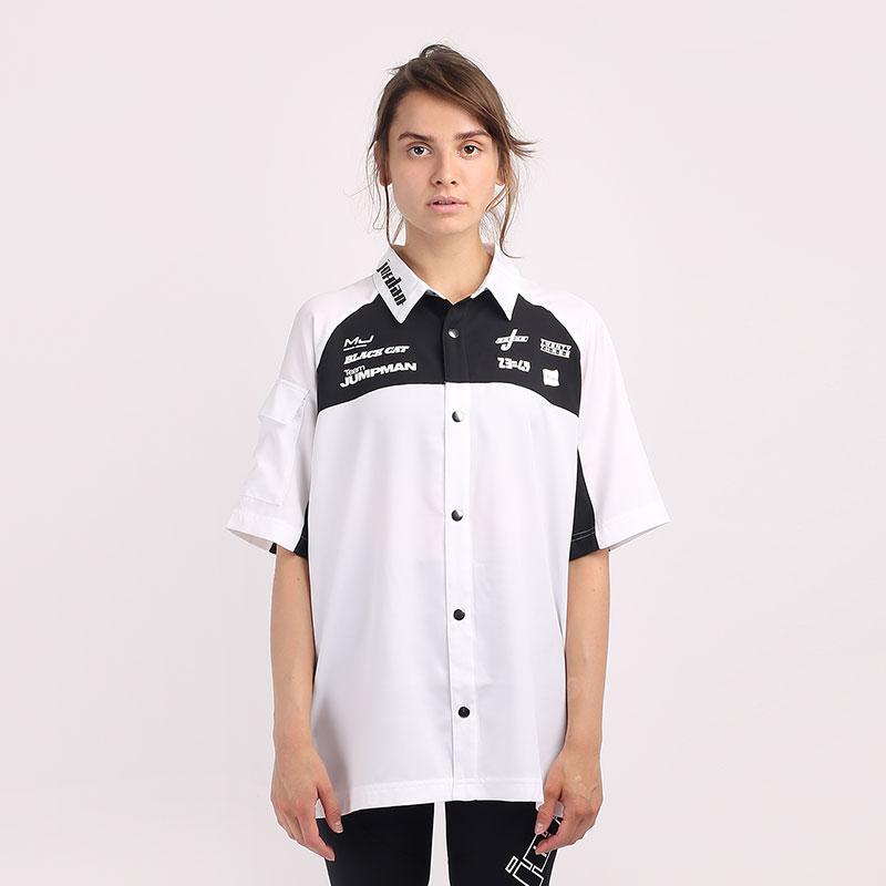 женскую белую  рубашку jordan moto short-sleeve top CV7558-100 - цена, описание, фото 1
