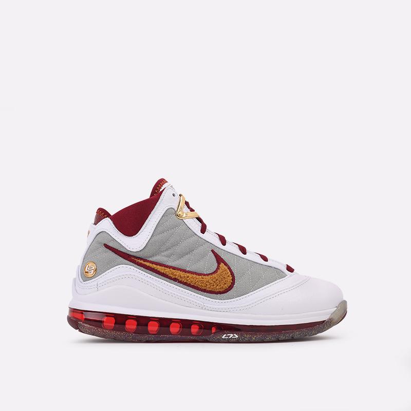 белые, бордовые  кроссовки nike lebron vii qs CZ8915-100 - цена, описание, фото 1