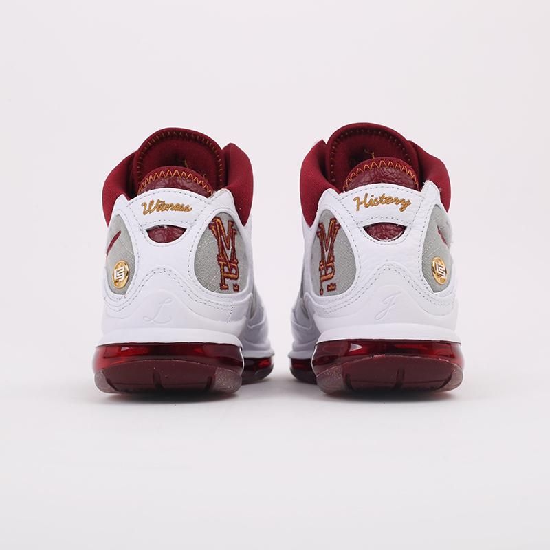 белые, бордовые  кроссовки nike lebron vii qs CZ8915-100 - цена, описание, фото 4