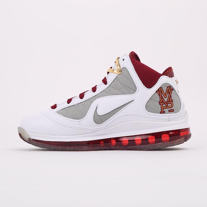 белые, бордовые  кроссовки nike lebron vii qs CZ8915-100 - цена, описание, фото 7