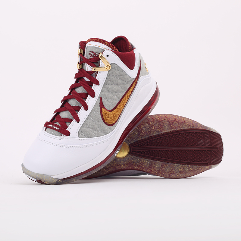 белые, бордовые  кроссовки nike lebron vii qs CZ8915-100 - цена, описание, фото 8