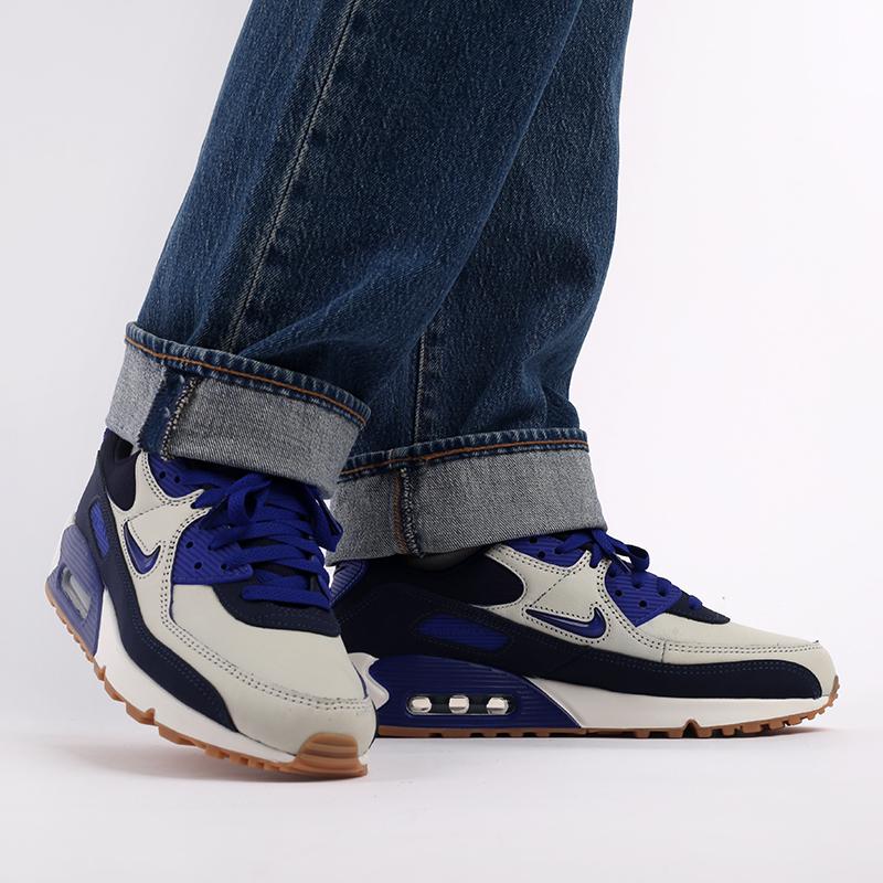 мужские синие  кроссовки nike air max 90 prm CJ0611-102 - цена, описание, фото 9