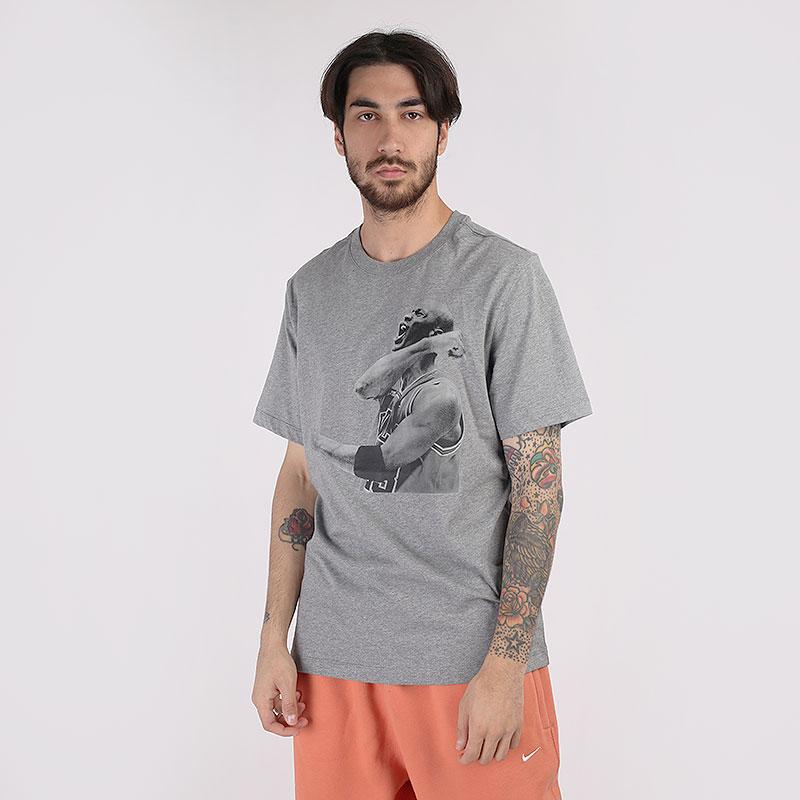мужскую серую  футболка jordan photo short-sleeve crew CN3588-091 - цена, описание, фото 1