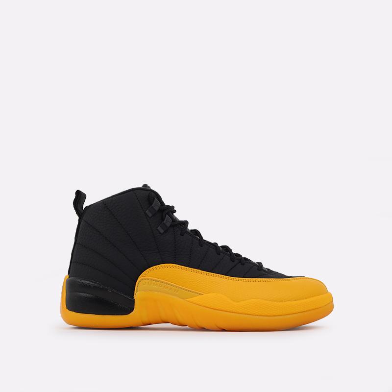 мужские черные, жёлтые  кроссовки jordan 12 retro 130690-070 - цена, описание, фото 1
