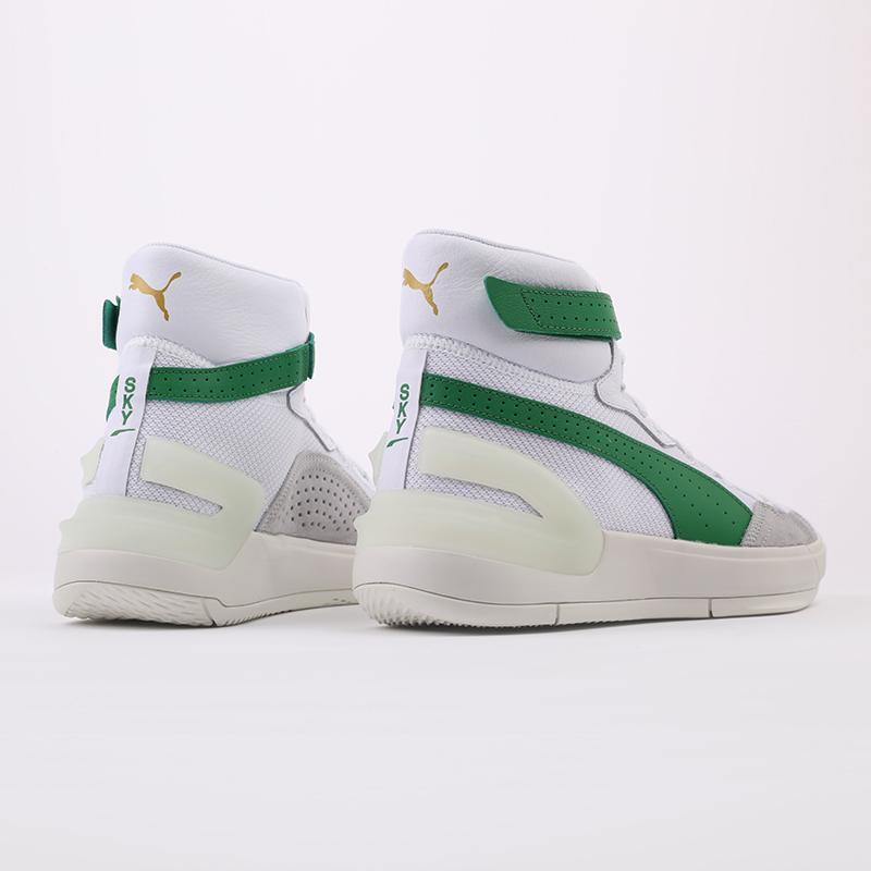 мужские белые, зелёные  кроссовки puma sky modern 19404202 - цена, описание, фото 3