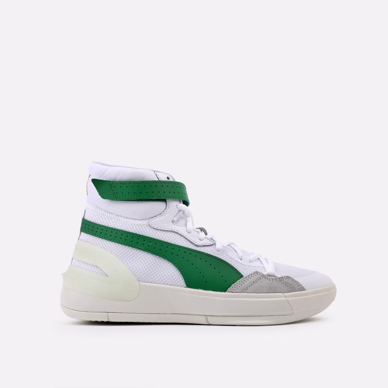 мужские белые, зелёные  кроссовки puma sky modern 19404202 - цена, описание, фото 1