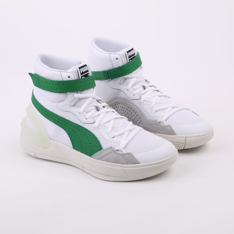 мужские белые, зелёные  кроссовки puma sky modern 19404202 - цена, описание, фото 2
