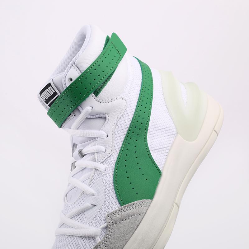 мужские белые, зелёные  кроссовки puma sky modern 19404202 - цена, описание, фото 5