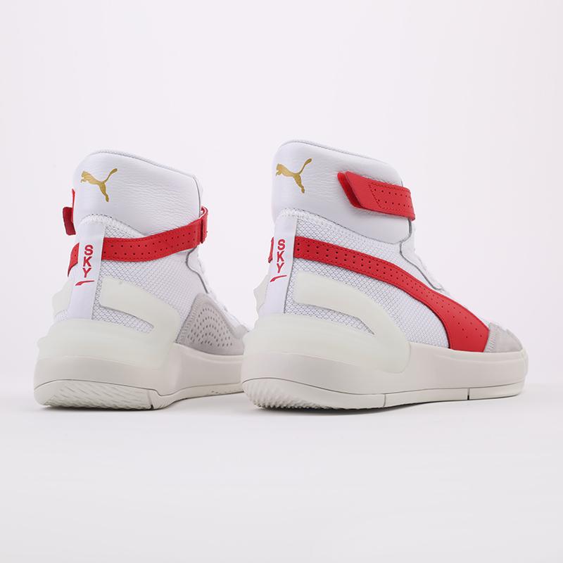 мужские белые, красные  кроссовки puma sky modern 19404203 - цена, описание, фото 4