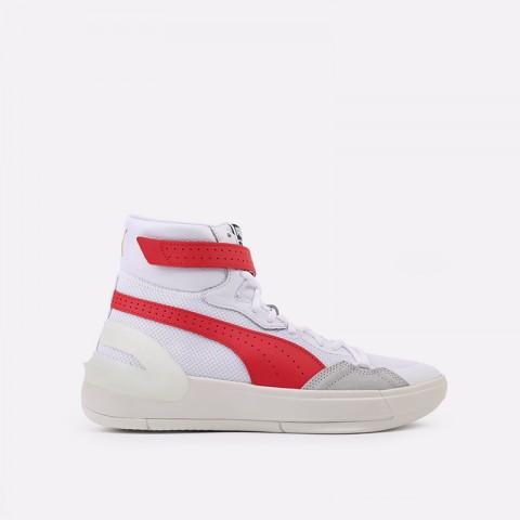 мужские белые, красные  кроссовки puma sky modern 19404203 - цена, описание, фото 1