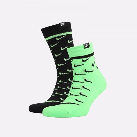 мужские черные, зелёные  носки nike sneakr sox CK5607-902 - цена, описание, фото 1