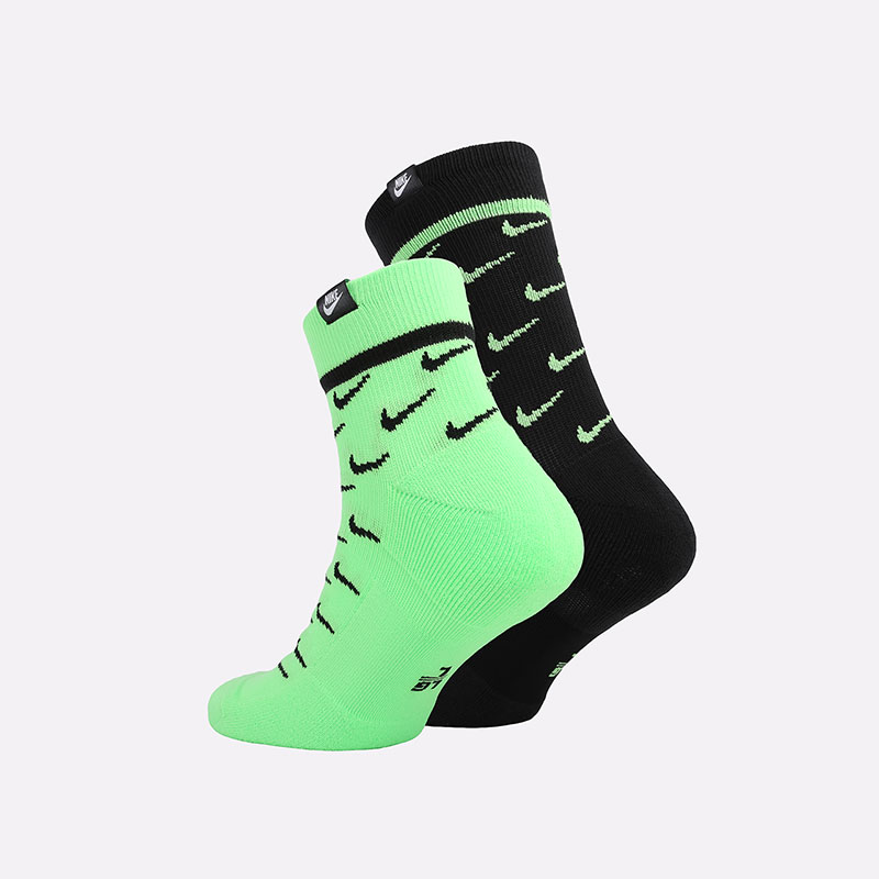 мужские черные, зелёные  носки nike sneakr sox CK5607-902 - цена, описание, фото 2