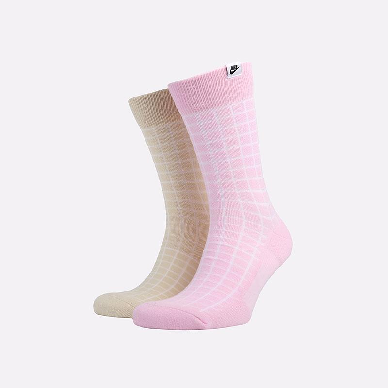 мужские розовые, бежевые  носки nike sneakr sox 2 pairs CK5590-902 - цена, описание, фото 1