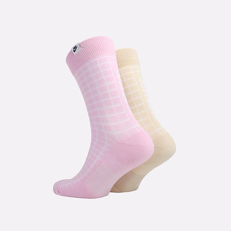 мужские розовые, бежевые  носки nike sneakr sox 2 pairs CK5590-902 - цена, описание, фото 2