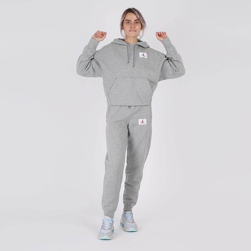 женскую серую  толстовка jordan flight fleece pullover hoodie CV7737-063 - цена, описание, фото 6