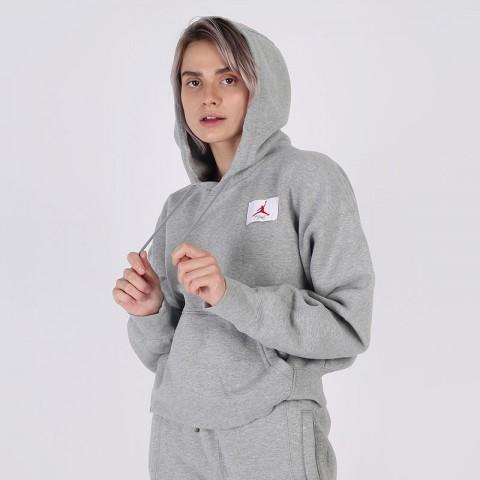 женскую серую  толстовка jordan flight fleece pullover hoodie CV7737-063 - цена, описание, фото 3