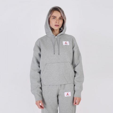 женскую серую  толстовка jordan flight fleece pullover hoodie CV7737-063 - цена, описание, фото 1