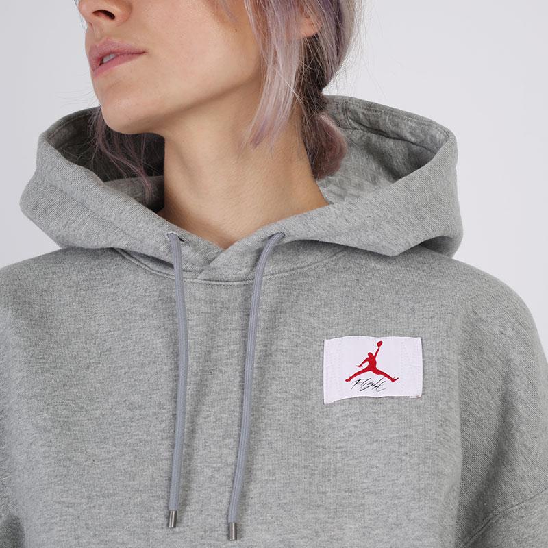 женскую серую  толстовка jordan flight fleece pullover hoodie CV7737-063 - цена, описание, фото 4