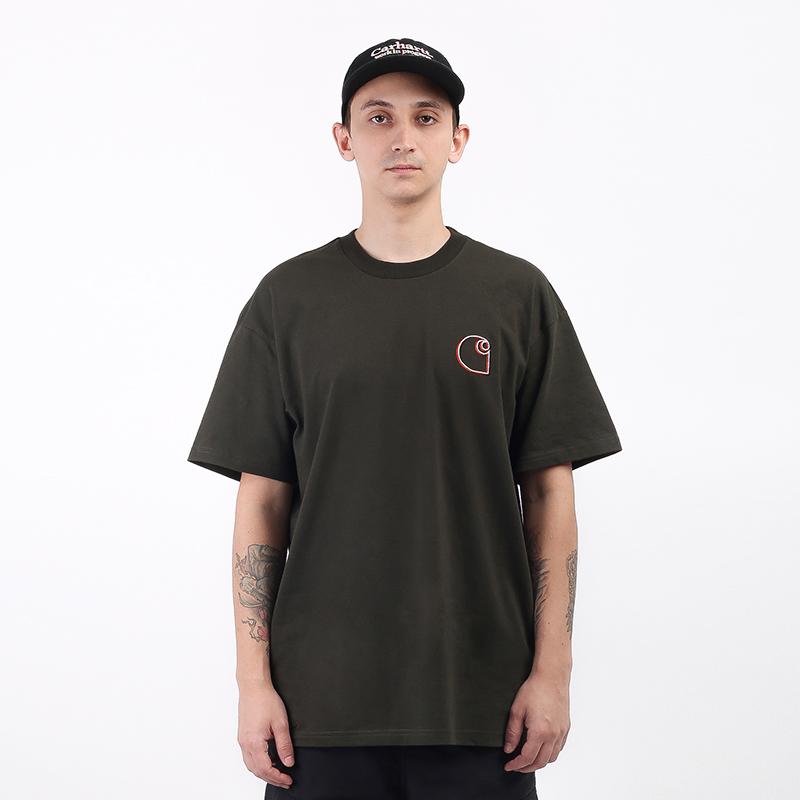 мужскую зеленую  футболка carhartt wip commission logo t-shirt I028460-cypress - цена, описание, фото 1