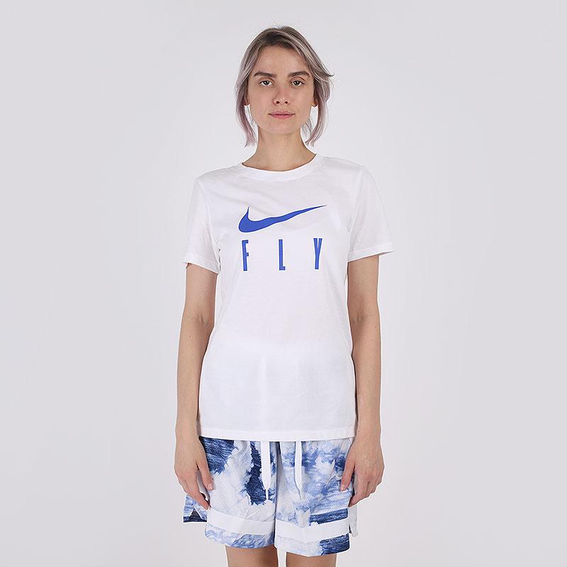 женскую белую  футболка nike fly CW6701-100 - цена, описание, фото 1