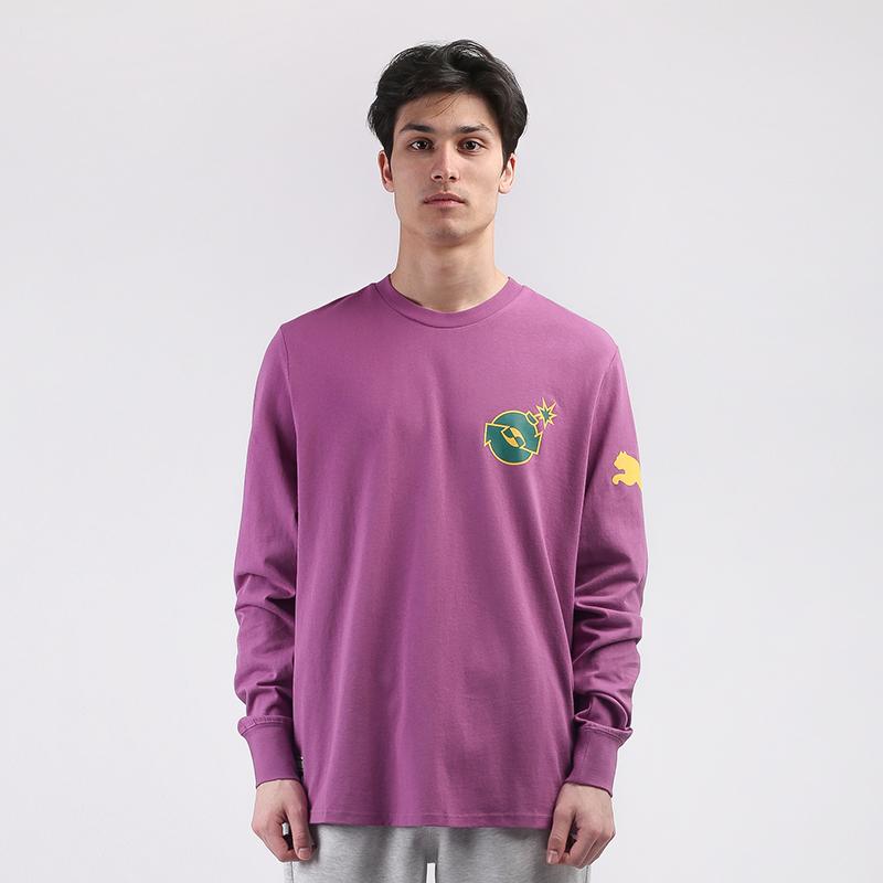 мужской фиолетовый  лонгслив puma x the hundreds 59831380 - цена, описание, фото 1