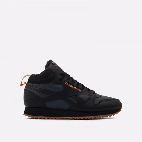 мужские чёрные  кроссовки reebok cl lthr mid ripple FV9309 - цена, описание, фото 1