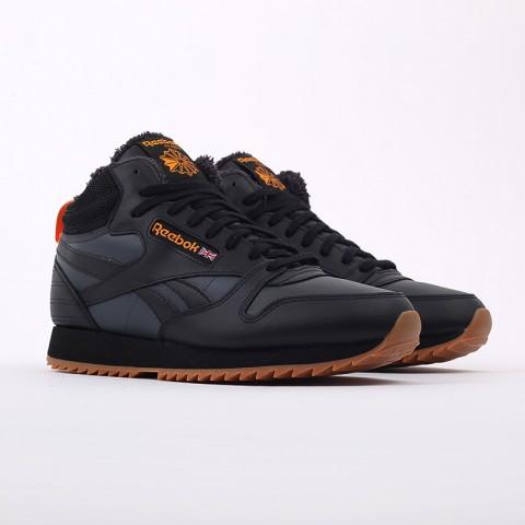 мужские чёрные  кроссовки reebok cl lthr mid ripple FV9309 - цена, описание, фото 2