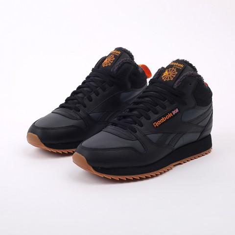 мужские чёрные  кроссовки reebok cl lthr mid ripple FV9309 - цена, описание, фото 5