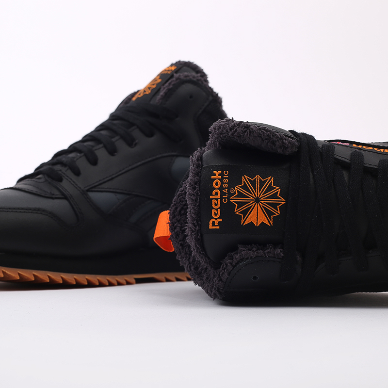мужские чёрные  кроссовки reebok cl lthr mid ripple FV9309 - цена, описание, фото 8