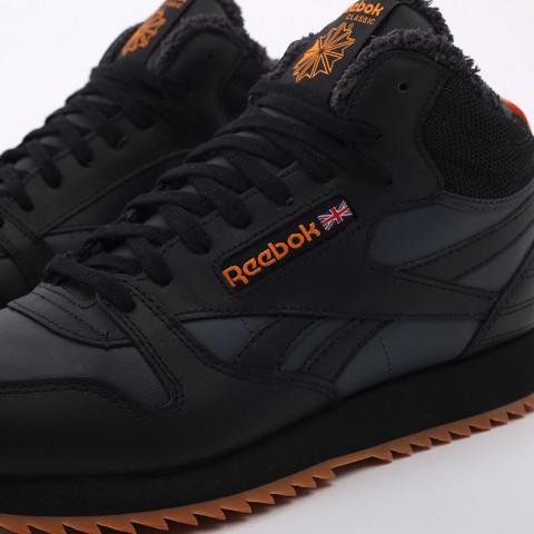мужские чёрные  кроссовки reebok cl lthr mid ripple FV9309 - цена, описание, фото 7