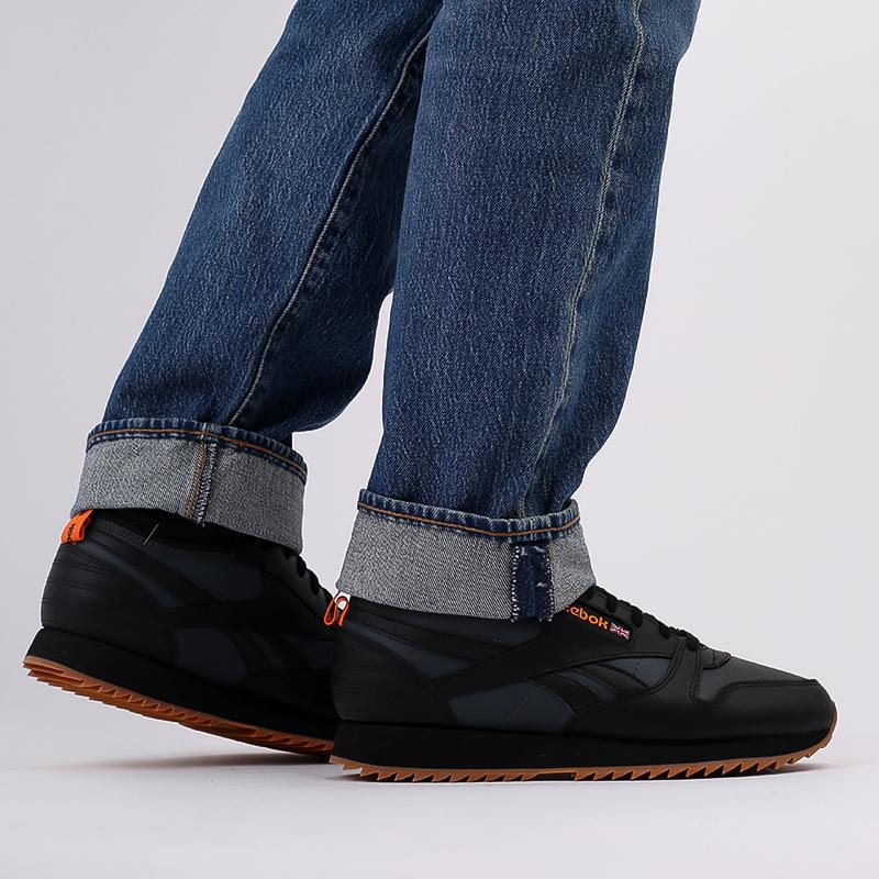 мужские чёрные  кроссовки reebok cl lthr mid ripple FV9309 - цена, описание, фото 9