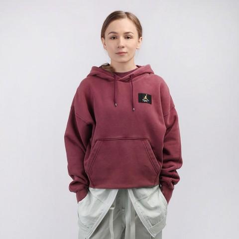 женскую бордовую  толстовка jordan flight fleece pullover hoodie CV7737-610 - цена, описание, фото 1