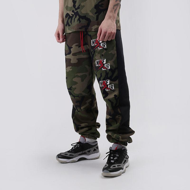 мужские зеленые  брюки jordan jumpman classics camo fleece pants CU2062-222 - цена, описание, фото 1
