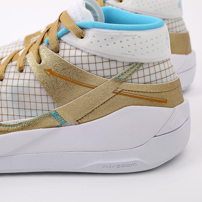 белые, золотые  кроссовки nike kd13 DA0895-102 - цена, описание, фото 6