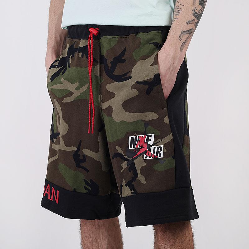 мужские зеленые  шорты  jordan jumpman classics camo fleece shorts CU2064-222 - цена, описание, фото 1